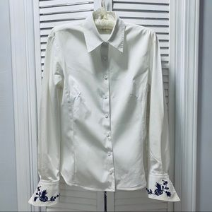 Cache Fitted Fancy Rare White long sleeve blouse